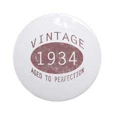 1934 Vintage Birthday (red) Ornament (Round)