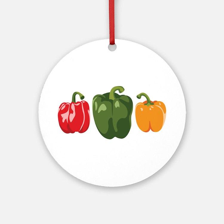 Bell Pepper Vegetables Ornament (Round)