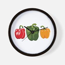 Bell Pepper Vegetables Wall Clock
