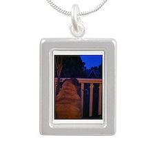 Christmas Pug Dreams Silver Portrait Necklace
