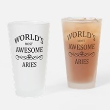 World's Most Awesome Aries Drinking Glass