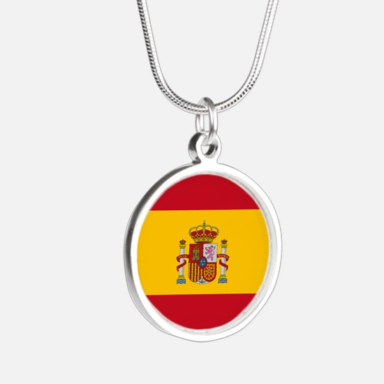 Spain Flag Silver Round Necklace