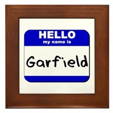 hello my name is garfield  Framed Tile