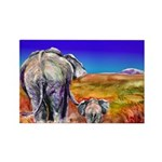 Mother and Baby ElephanRectangle Magnet (100 pack)