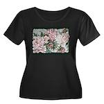 Women's Plus Size Scoop Neck Dark T-Shirt w/peony