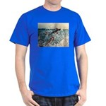 blue T-Shirt, with 2 fish playing with waves.