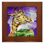 Framed Tile with giraffe, beautiful.