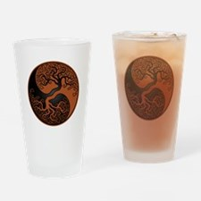 Brown and Black Yin Yang Tree Drinking Glass