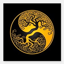 Yellow Yin Yang Tree with Black Back Square Car Ma