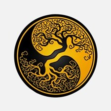 """Yellow Yin Yang Tree with Black Back 3.5"""" Button"""