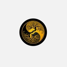 Yellow Yin Yang Tree with Black Back Mini Button