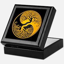 Yellow Yin Yang Tree with Black Back Keepsake Box