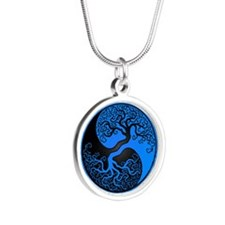 Blue Yin Yang Tree with Black Back Necklaces