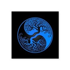 Blue Yin Yang Tree with Black Back Sticker