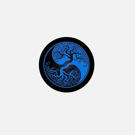Blue Yin Yang Tree with Black Back Mini Button