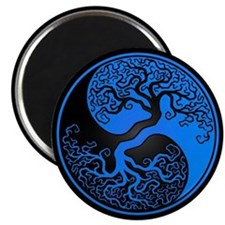 Blue Yin Yang Tree with Black Back Magnets