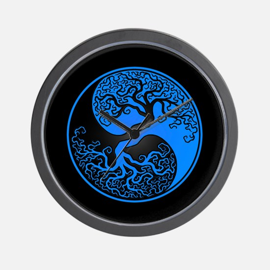Blue Yin Yang Tree with Black Back Wall Clock