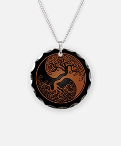 Brown Yin Yang Tree with Black Back Necklace