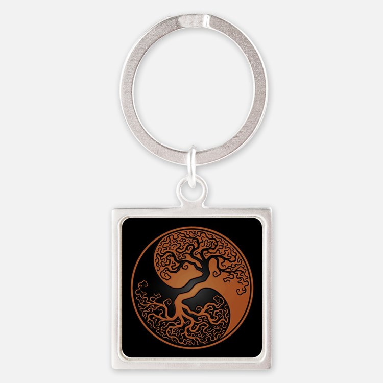 Brown Yin Yang Tree with Black Back Keychains