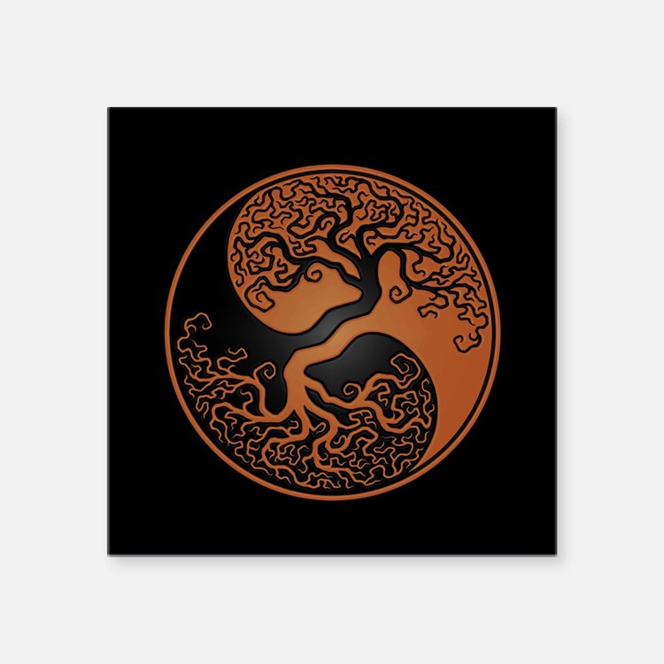 Brown Yin Yang Tree with Black Back Sticker