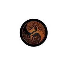 Brown Yin Yang Tree with Black Back Mini Button