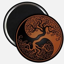 Brown Yin Yang Tree with Black Back Magnets