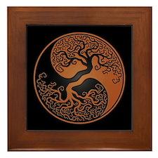 Brown Yin Yang Tree with Black Back Framed Tile