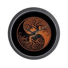 Brown Yin Yang Tree with Black Back Wall Clock