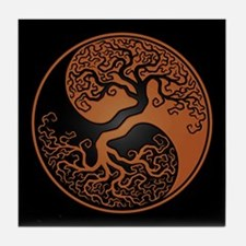 Brown Yin Yang Tree with Black Back Tile Coaster