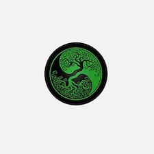 Green Yin Yang Tree with Black Back Mini Button