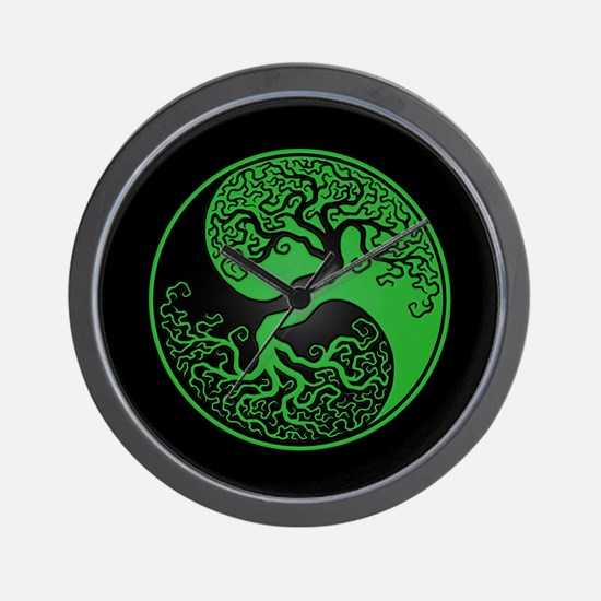 Green Yin Yang Tree with Black Back Wall Clock