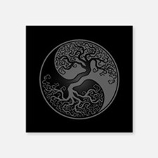 Grey Yin Yang Tree with Black Back Sticker