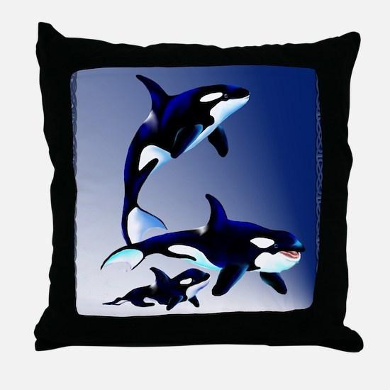 Killer Whale Family Throw Pillow