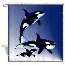 Killer Whale Family Shower Curtain