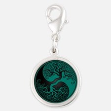 Teal Blue Yin Yang Tree with Black Back Charms