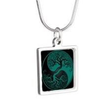 Teal Blue Yin Yang Tree with Black Back Necklaces
