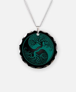 Teal Blue Yin Yang Tree with Black Back Necklace