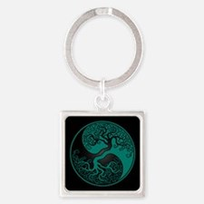 Teal Blue Yin Yang Tree with Black Back Keychains