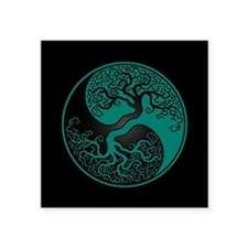Teal Blue Yin Yang Tree with Black Back Sticker