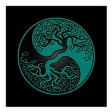 Teal Blue Yin Yang Tree with Black Back Square Car