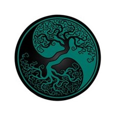 """Teal Blue Yin Yang Tree with Black Back 3.5"""" Butto"""