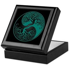 Teal Blue Yin Yang Tree with Black Back Keepsake B