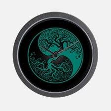 Teal Blue Yin Yang Tree with Black Back Wall Clock