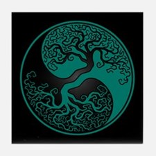 Teal Blue Yin Yang Tree with Black Back Tile Coast