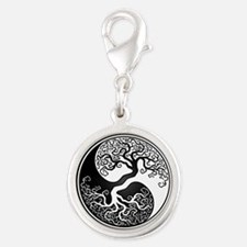 White Yin Yang Tree with Black Back Charms