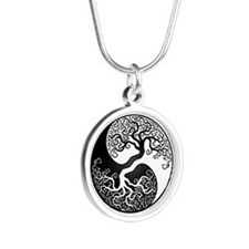 White Yin Yang Tree with Black Back Necklaces