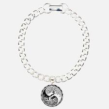 White Yin Yang Tree with Black Back Bracelet