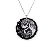 White Yin Yang Tree with Black Back Necklace