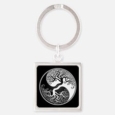 White Yin Yang Tree with Black Back Keychains