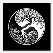 White Yin Yang Tree with Black Back Square Car Mag